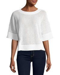 Todd And Duncan Cashmere Blend Open Stitch Top White