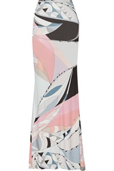 Emilio Pucci Printed Jersey Maxi Skirt Gray
