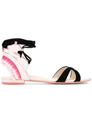 Sophia Webster Ruffled Detail Flat Sandals Pink And Purple