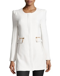 Raison D'etre Lady Textured Knit Faux Leather Trimmed Coat Ivory
