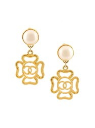 Chanel Vintage Four Leaf Clover Clip On Earrings Metallic