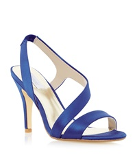 Untold Monrow Satin Asymmetric Strappy Sandals Blue