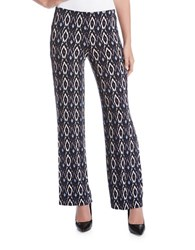 Karen Kane Diamond Ikat Printed Wide Leg Pants Blue
