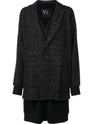 Y's Layered Oversized Coat Black