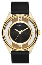 Marc By Marc Jacobs 'Tether' Skeleton Leather Strap Watch 36Mm Black Gold