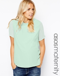 Asos Maternity T Shirt With Woven Layer And Sheer Sleeves Mint