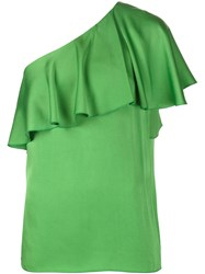 Lanvin One Shoulder Top Green