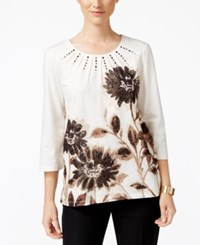 Alfred Dunner Madison Park Collection Metallic Floral Print Top Multi