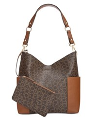 Calvin Klein Monogram Hobo With Pouch Brown Khaki Luggage Saffiano
