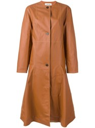 Loewe Button Down Flared Coat Brown