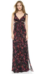 Thakoon Knotted Gown With Cutouts Black Multi