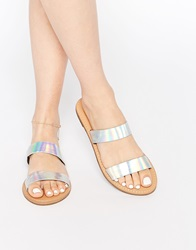 New Look Holographic Two Strap Sandal Silver