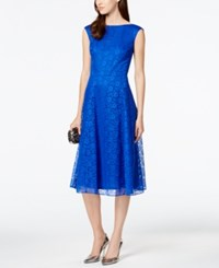 Betsey Johnson Floral Lace Tea Length Dress Blue