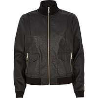 River Island Womens Black Leather Look Funnel Neck Bomber Jacket