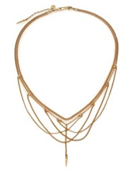 Chan Luu Draped Mixed Chain Bib Necklace Gold