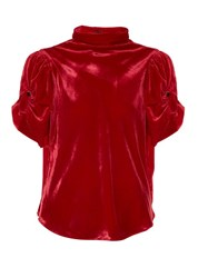 Etoile Isabel Marant Link High Neck Ruched Velvet Top Red