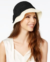 Kate Spade New York Paper Straw Cloche Natural Black