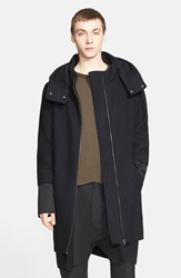 Chapter 'Ludwig' Hooded Wool Blend Coat Black Charcoal