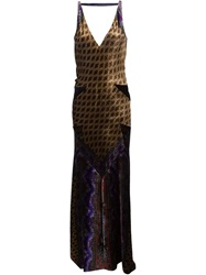 Etro Printed Velvet Long Dress Brown