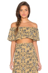 For Love And Lemons Pia Crop Top Mustard