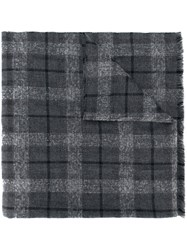 Brunello Cucinelli Large Checked Scarf Grey