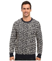Nautica 3 Gauge Jacquard Crew Sweater Navy Men's Sweater