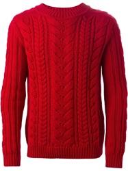 Balmain Cable Knit Sweater Red