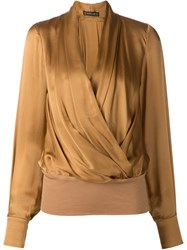 Plein Sud Jeans Plein Sud Draped Wrap Blouse Nude And Neutrals