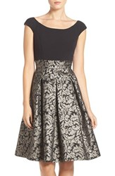 Eliza J Women's Ponte And Metallic Jacquard Fit And Flare Dress