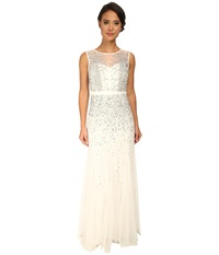 Adrianna Papell Beaded Illusion Gown Prom Ivory Silver Women's Dress Metallic