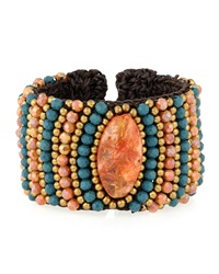 Agate Beaded Rope Cuff Bracelet Teal Orange Panacea