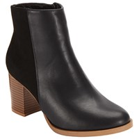 John Lewis Mixed Texture Block Heeled Ankle Boots Black