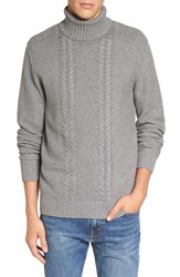 Men's 1901 Spire Cable Knit Turtleneck Sweater Grey Heather