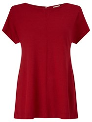 East Boat Neck Jersey Top Dark Red