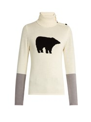 Perfect Moment Bear Intarsia Roll Neck Wool Sweater White Multi