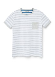 Mango Striped Cotton T Shirt Navy