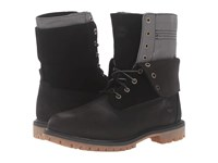 Timberland Authentics Double Fold Down Boot Black Nubuck Women's Lace Up Boots