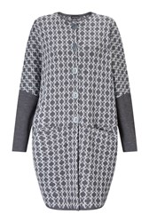 James Lakeland Knitted Jacquard Coat Grey