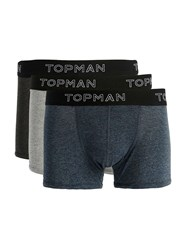 Topman Assorted Colours Salt And Pepper Trunks 3 Pack Multi