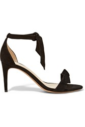 Alexandre Birman Patty Bow Embellished Suede Sandals Black
