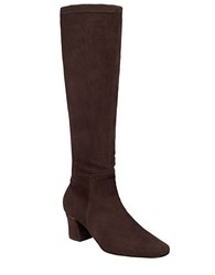 Delman Cyera Suede Knee High Boots Dark Brown