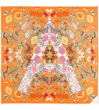 Aspinal Of London Botanical 'A' Silk Scarf Orange