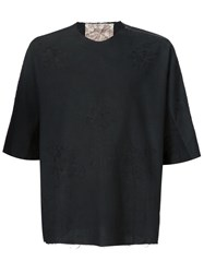 By Walid Shoulder Zip Embroidered T Shirt Black