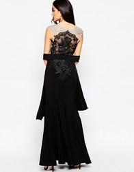 Forever Unique Lorelle Maxi Dress With Off Shoulder Embellishment And Lace Back Black
