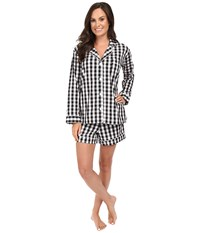 Bedhead Long Sleeve Shorty Bottom Pajama Set Black Gingham Women's Pajama Sets