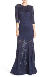 Women's Betsy And Adam Illusion Lace Mermaid Gown