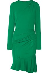 Roberto Cavalli Embellished Gathered Stretch Jersey Mini Dress Forest Green
