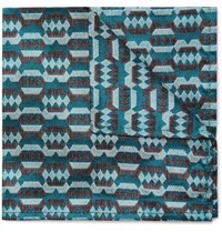 Marwood Silk Jacquard Pocket Square Teal
