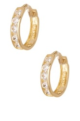 Candela 10K Yellow Gold Cubic Zirconia Huggie Hoop Earrings Metallic