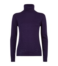 Harrods Of London Scattered Crystal Cashmere Roll Neck Female Purple